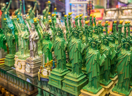 Statues of Liberty on the shelf in the gift shop in New York