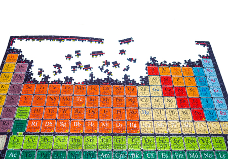 unsolved: Unsolved puzzle of the chemical periodic table on the white background