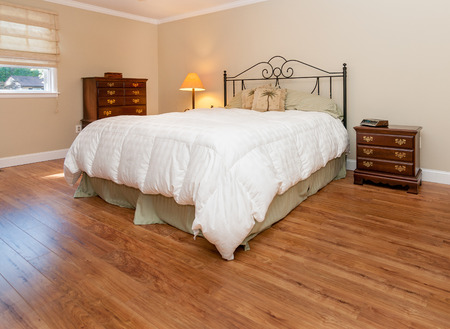 Stock photo of bedroom in the residential house Stock Photo