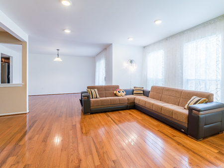 Stock photo of the living room with sofa and hardwood floor