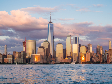 View of evening Manhattan in twilight from Jersey City waterfront