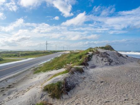 Road accross the sand dunes at Outer Banks, North Carolina, USA