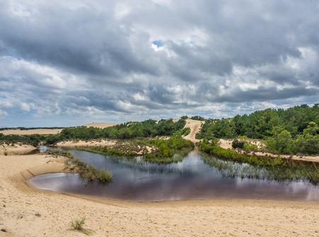 Landscape of Jockeys Ridge State Park: the tallest sand dunes at East Coast