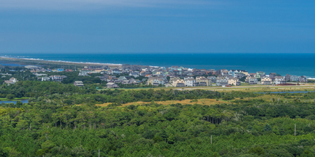 hatteras: Aerial view from the top of Hatteras Lighthouse at Outer Banks, NC