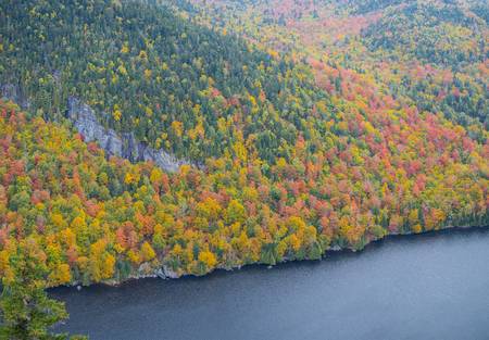 Cliff over Lower Ausable Lake in Adirondack Mountains Stock Photo