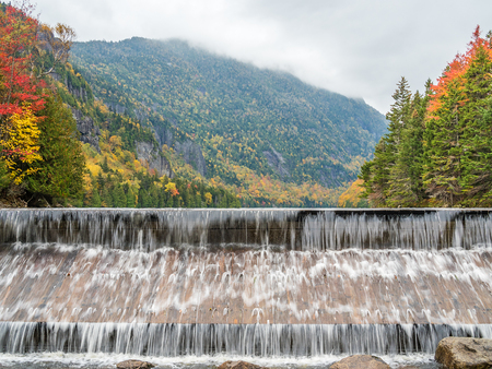 The dam of Lower Ausable Lake in Adirondack Mountains