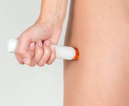 Treating the severe allergic reaction with the epinephrine