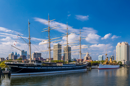 Ships at Penns Landing, Philadelphia, Pennsylvania 版權商用圖片