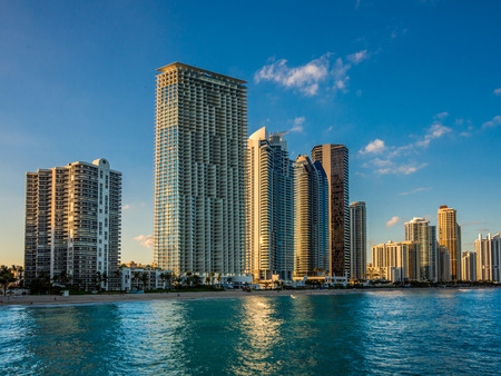 Panorama of Sunny Isles Beach city in Greater Miami area, Florida, USA Editorial