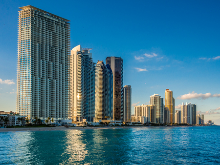 Panorama of Sunny Isles Beach city in Greater Miami area, Florida, USA Stock Photo