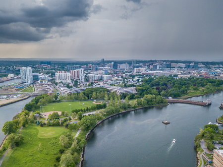 Aerial panorama of Stamford, Connecticut Stock Photo