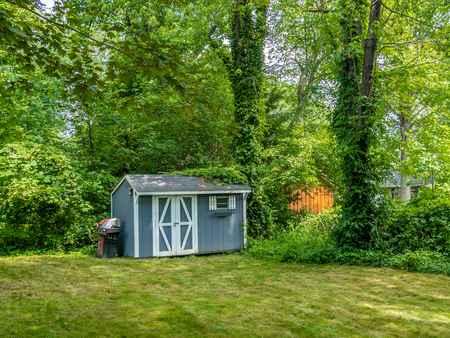 Stock photo of the shed at the private backyard