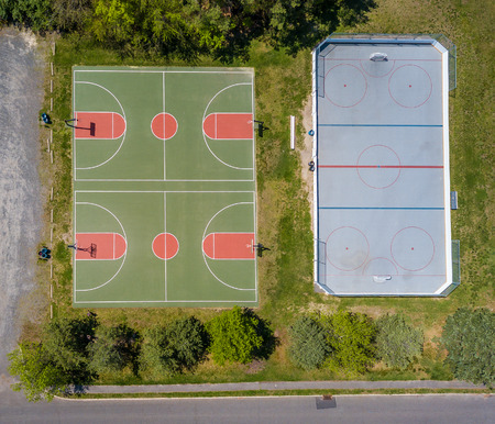 Stock aerial photo of basketball field Stock fotó