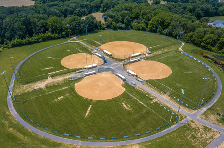 Stock aerial photo of baseball field