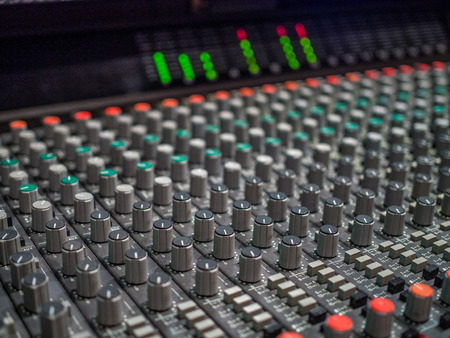 Close-up photo of control board in the sound studio