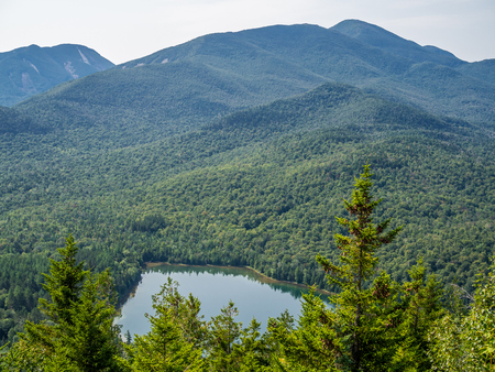 View at Heart Lake and Algonquin Mountain from Mount Jo Stock Photo