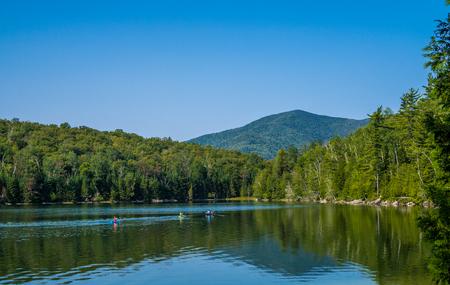 Lake inside Adirondack Mountains in upsate New York Stock Photo