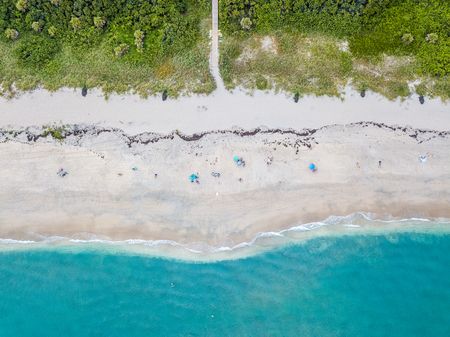 Aerial photo of surf at tropical beach Stock Photo