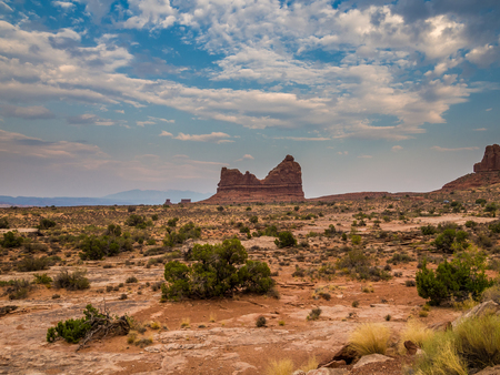 Geological formations in Arches National Park in Utah Stock Photo