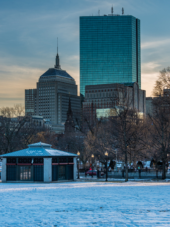 Early winter evening in Boston Commons Park