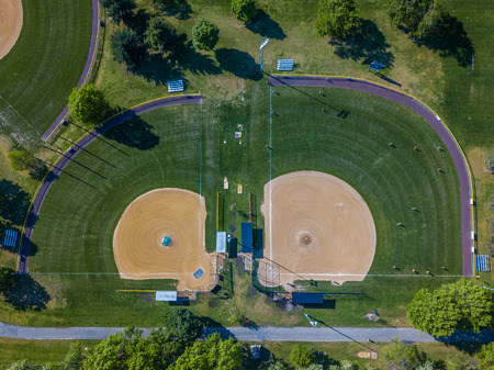 Aerial photo of baseball field in the countryside park