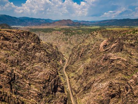 View of surrounding landscapes from Royal Gorge Bridge in Colorado Foto de archivo