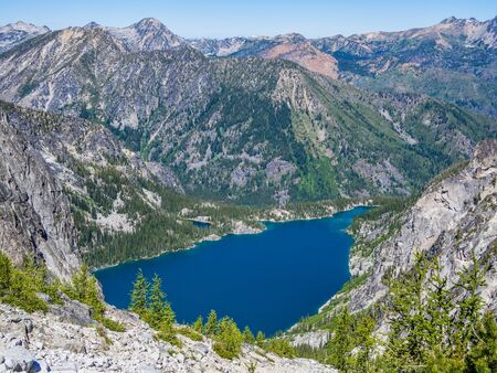 Colchuck Lake: the part of famous Enchantments trail in North Cascade Mountains