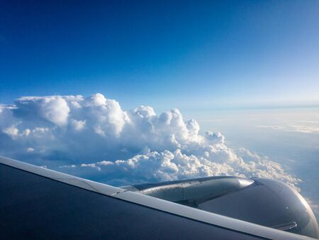 View from airplane window during a flight