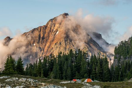 Backcountry camping on the lake in North Cascade Mountains