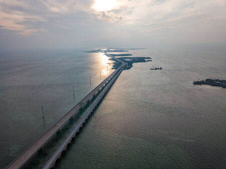 Aerial photo of Florida Keys Seven Miles Bridge at the sunset