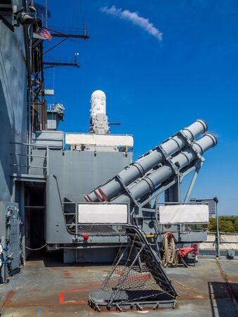 Tomahawk missile launcher at Battleship New Jersey Reklamní fotografie
