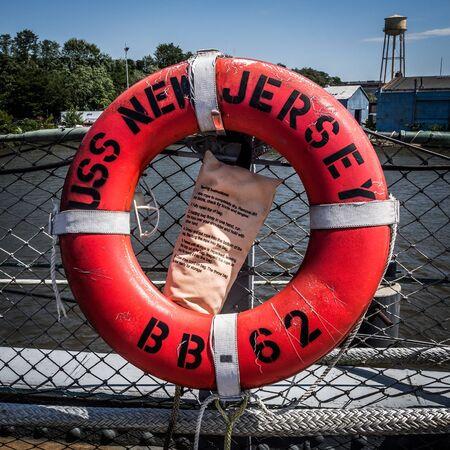 Lifebuoy on board of Battleship New Jersey Reklamní fotografie