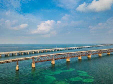 Aerial photo of Florida Keys bridges
