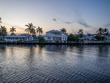 Sunset over the neighbourhood in south florida