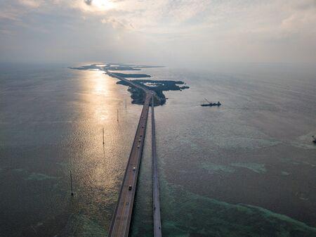 Aerial photo of Florida Keys Seven Miles Bridge at the sunset