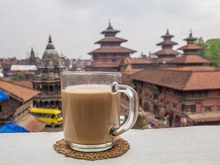 Morning cup of masala tea on the terrace of hotel on Patan Durbar Square