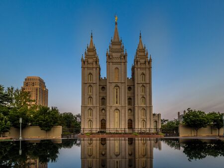 Early morning in Salt Lake City Downtown 免版税图像