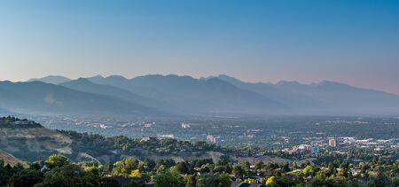 View of the mountains surrounding Salt Lake City Stock Photo
