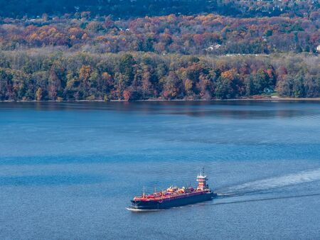 Aerial photo of the ship on the Hudson River