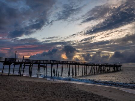 Sunrise over the fishing pier at Outer Banks North Carolina