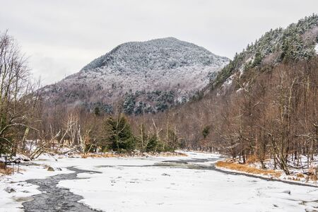 Adirondack Mountain in witner covered in snow Stock Photo