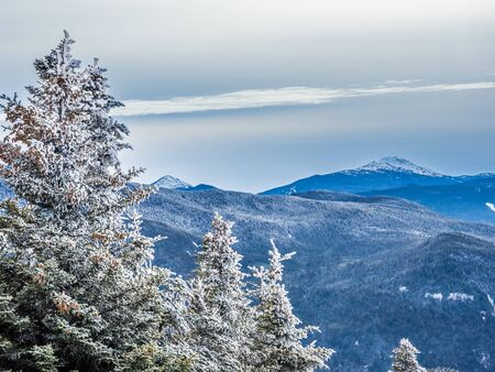 Winter view of Adirondack High Peaks from Cascade Mountain