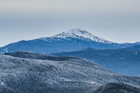 Winter view of Adirondack High Peaks from Cascade Mountain Stock Photo