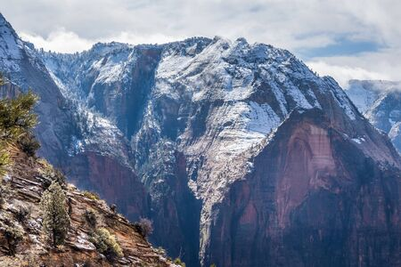 View of winter Zion Canyon from Angels Landgin trail