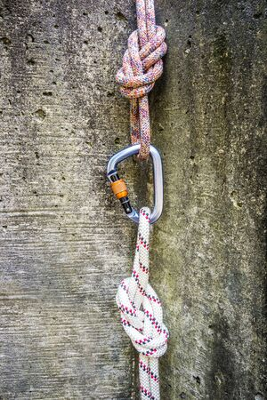 Two climbing ropes connected with carabiner