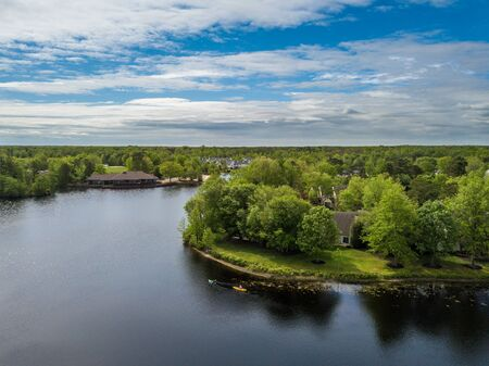Aerial photo of the lake in the countryside living community