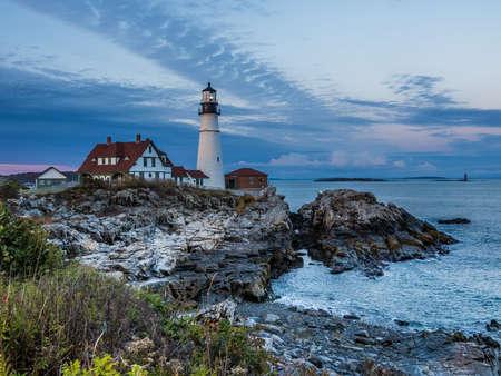 Portland Head Light the iconic landmark of New England at dusk 版權商用圖片