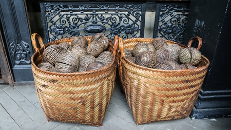 cerebra: dry Cerbera oddloams seed with basket  Pong-pong, Othalanga, suicide tree Stock Photo