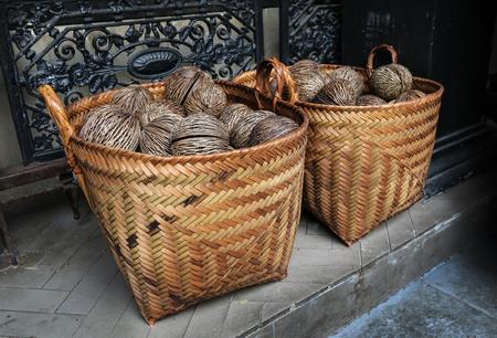dry Cerbera oddloams seed with basket ( Pong-pong, Othalanga, suicide tree )