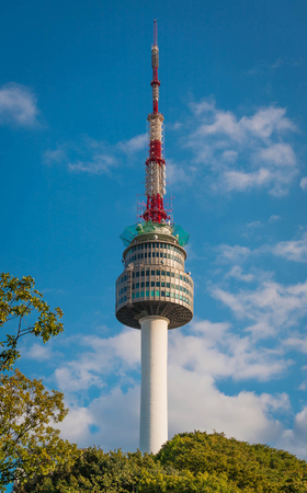 The spire of N Seoul Tower, or Namsan Tower and the blue skies above Seoul,